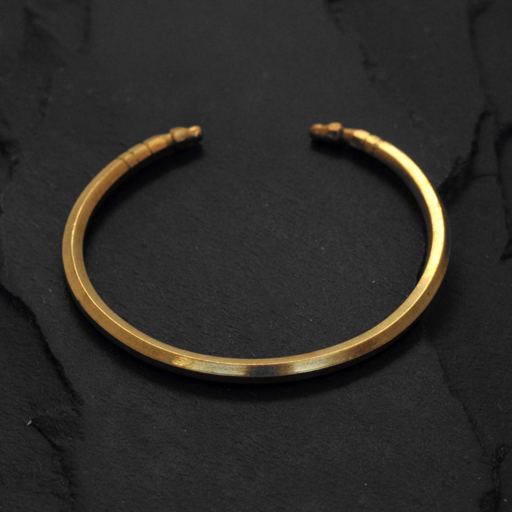Image of Solid thin hexagon bracelet in brass