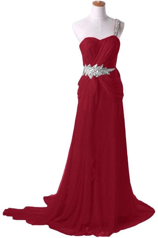 Elegant One Shoulder Chiffon Wine Red Prom Dresses, Bridesmaid Dresses