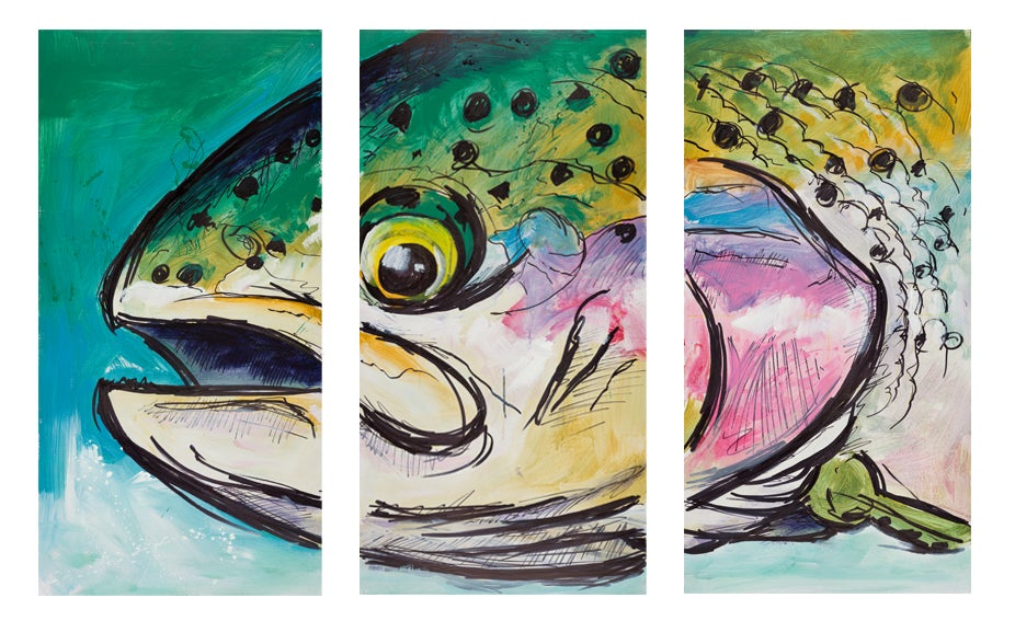 Image of Rainbow Hen Triptych