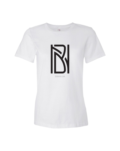 Image of Women's white t-shirt with Blake Nix logo
