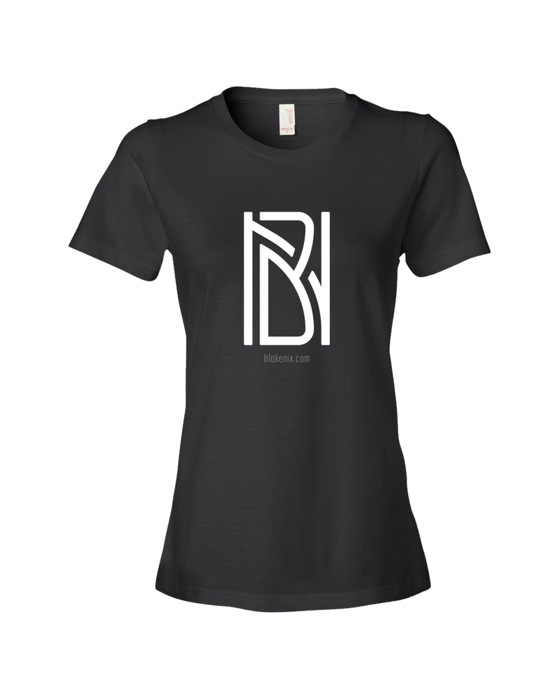 Image of Women's black t-shirt with Blake Nix logo