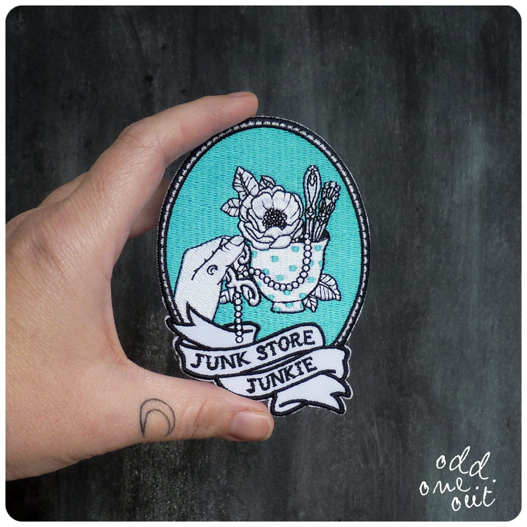 Image of Junk Store Junkie - Iron on Gang Patch