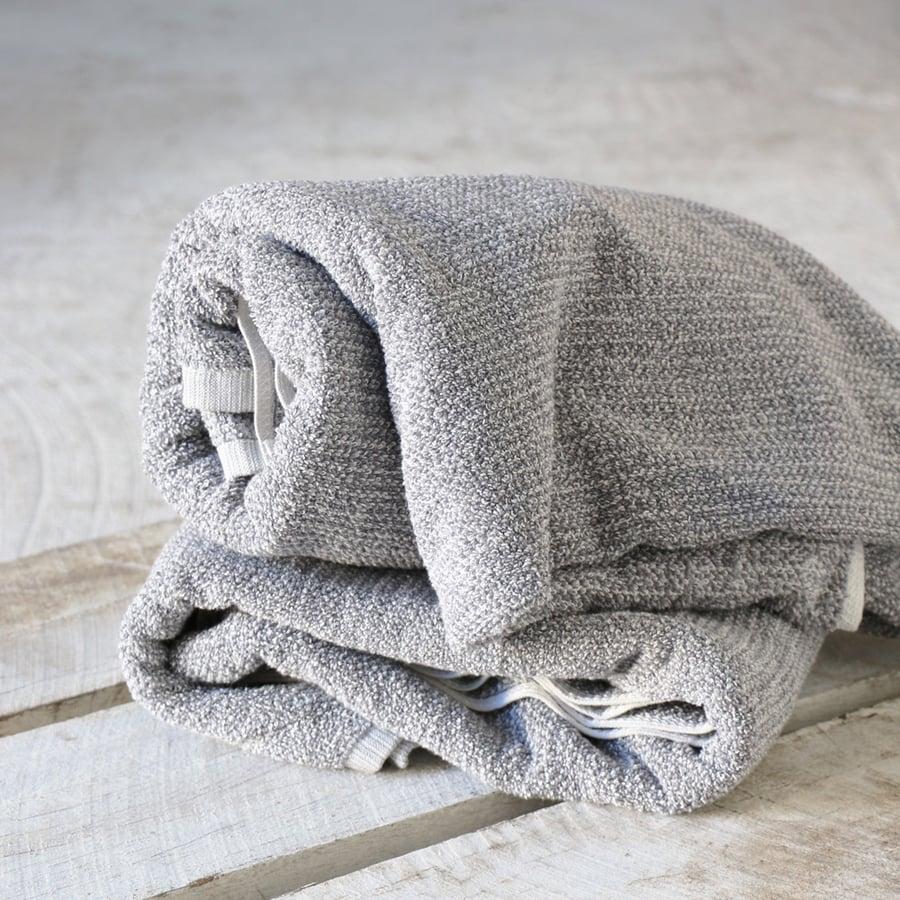 Image of Grey Tweed Cotton Towel