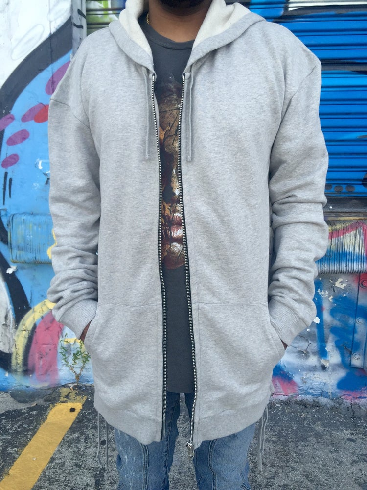 Image of FAITH CONNEXION Grey Laced Oversized Hoodie FW16