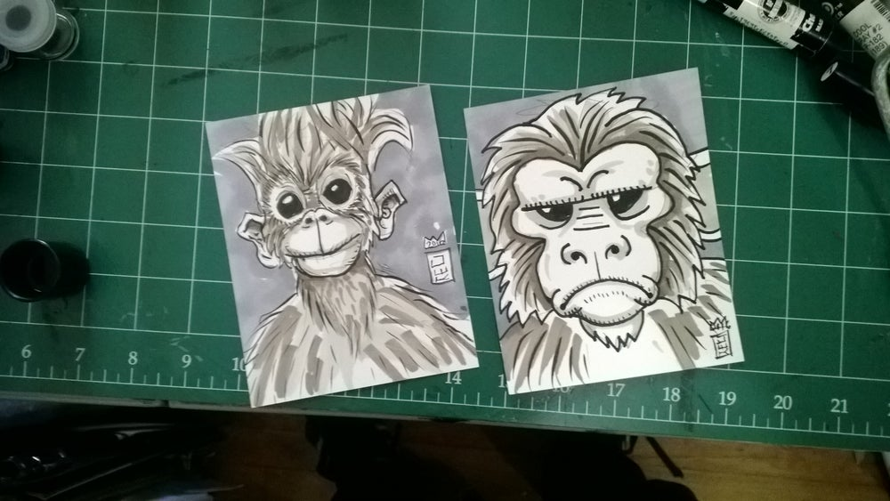 "Image of 4.25""x5.5"" drawing of a monkey"