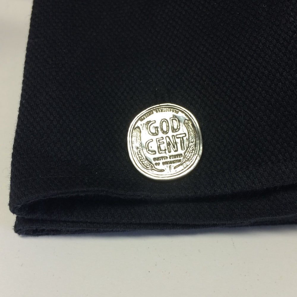 Image of GOD CENT SILVER CUFFLINKS