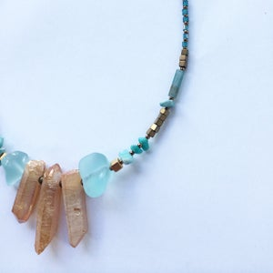 Image of Nia Necklace - Quartz, malachite and hematite