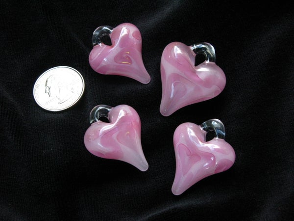 Image of Pink and Gold Heart Pendants