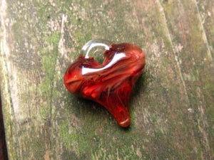 Image of Red and Gold Fumed Heart Pendants