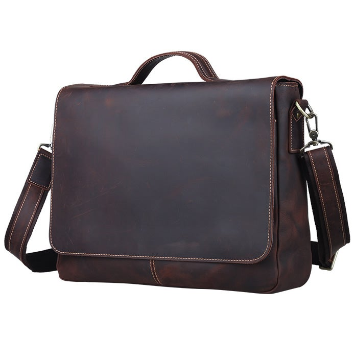 "Image of Vintage Handmade Antique Leather Briefcase Messenger 13"" 14"" 15"" Laptop 13"" 15"" MacBook Bag (n78-2)"