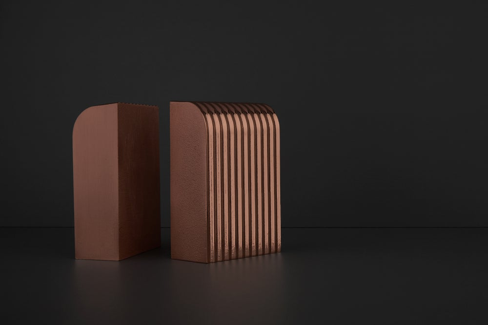 Image of Corrugated Arc Bookends (Sold as Pair) SAMPLE SALE
