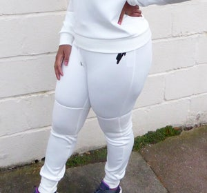 Womens Scuba Mesh Tracksuit Bottoms (Off White) - Moore Vigilance