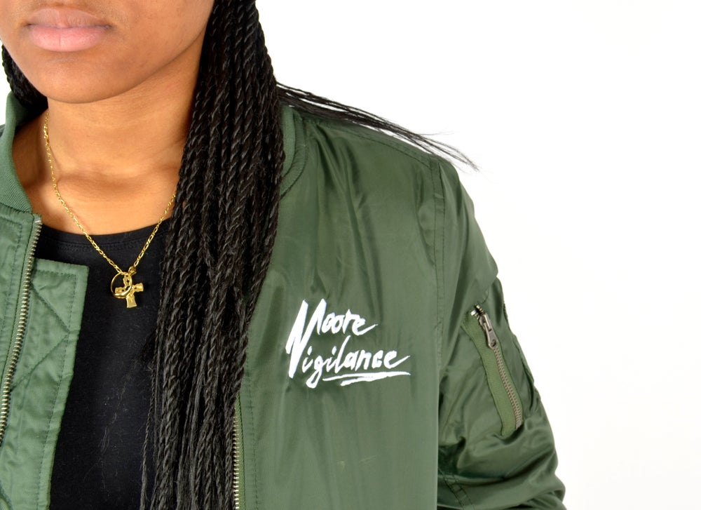 Image of Womens Long Olive Bomber Jacket