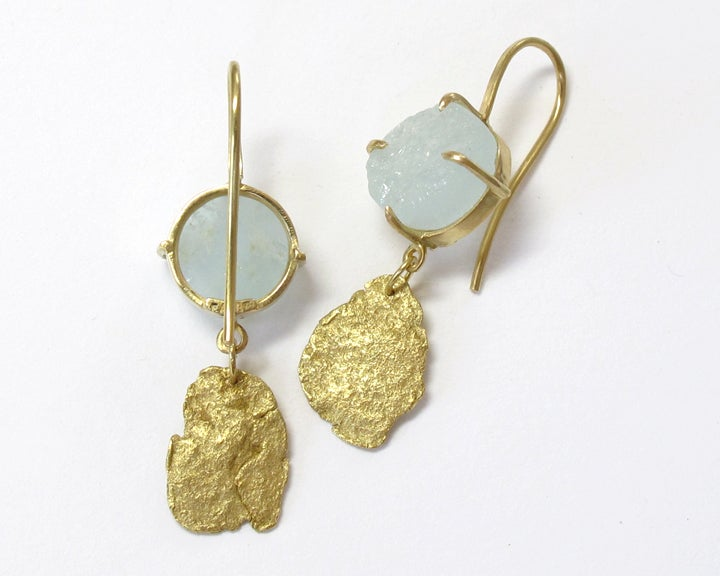 Image of Gold Flake Raw Aquamarine 18k Earrings