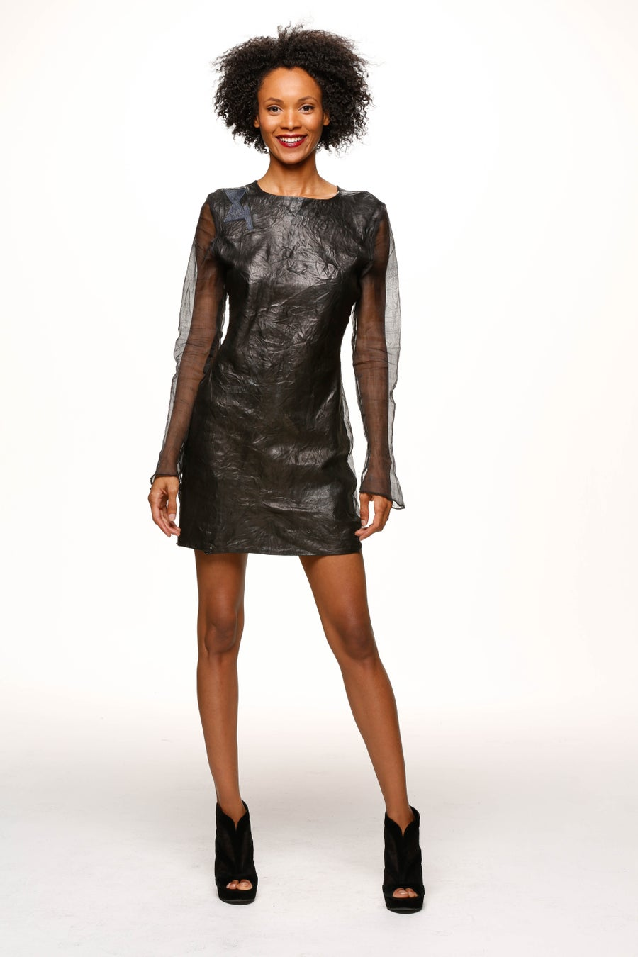Image of Naz Ahimsa Silk and Leather Dress