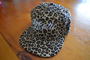 Image of Crown Flat Peak Snapback Cap (Leopard Print)