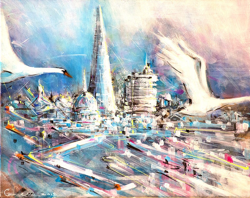 Image of Swans Over City print