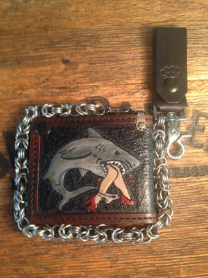 Image of Byzantine Pattern Wallet Chain with Black Leather Key FOB