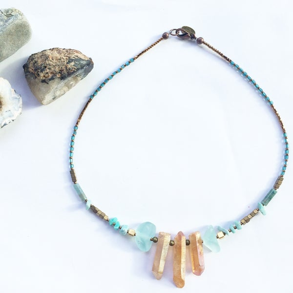 Image of Nia Necklace - Aura Quartz, Amazonite and Hematite