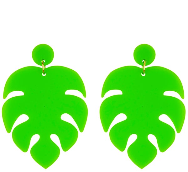 Monstera Swiss Cheese Plant Earrings - Black Heart Creatives