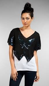 Image of Vintage 1970s Sequin Butterfly Top Blouse 100% Silk