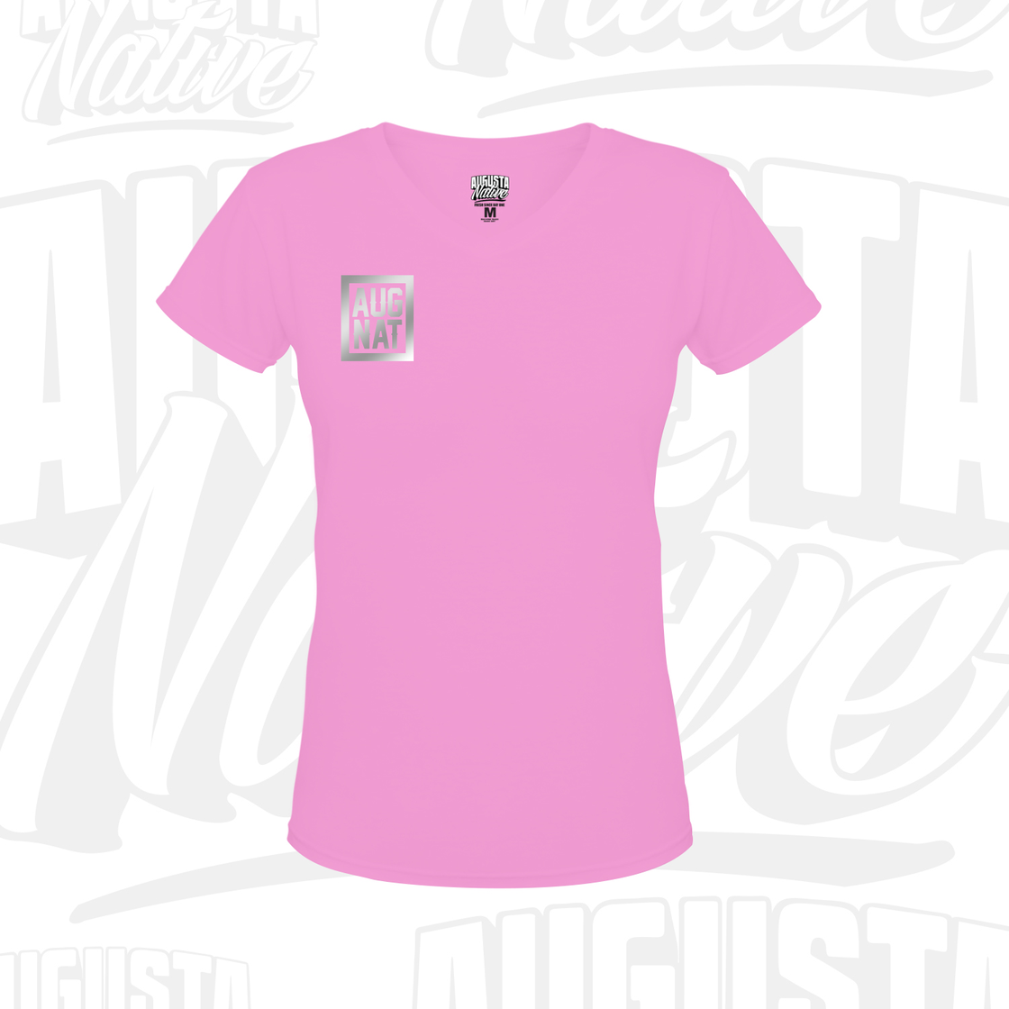 Image of Ladies Stamp of Approval Soft Touch VNeck - Pink / Silver