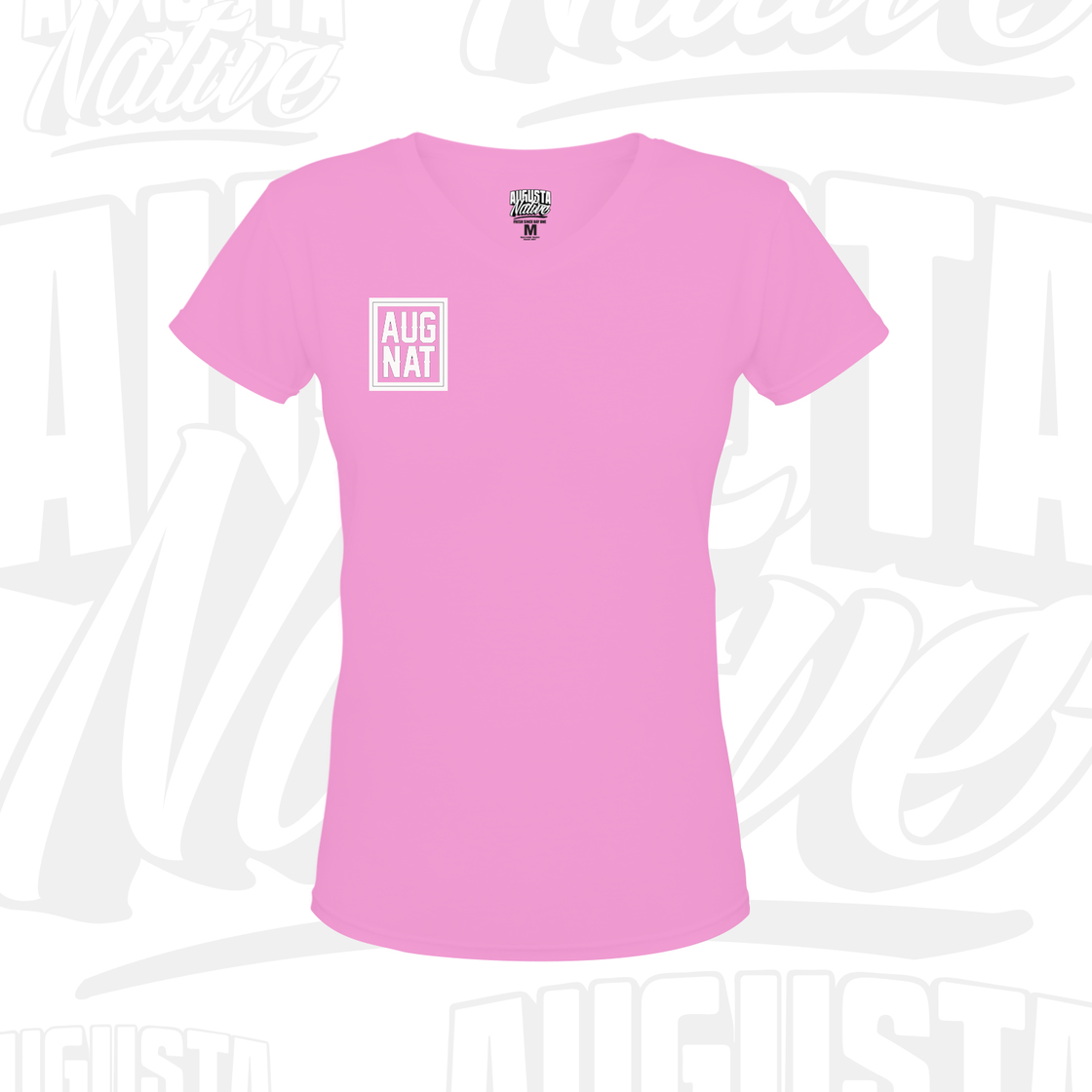 Image of Ladies Stamp of Approval Soft Touch VNeck - Pink / White