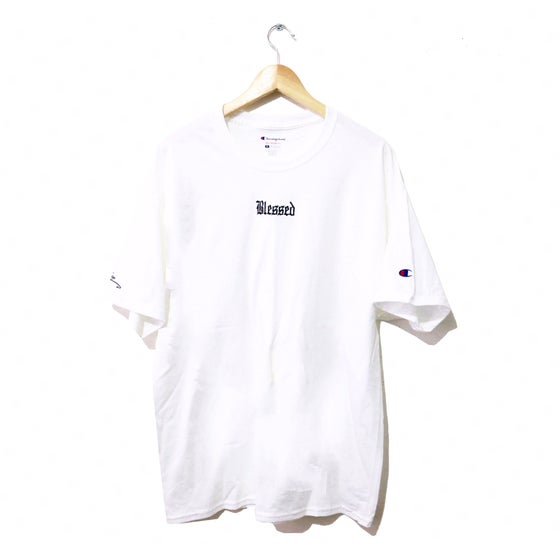 Image of BLESSED EMBROIDERED CHAMPION® TEE (WHITE)