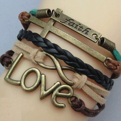 Image of FAITH LOVE CROSS BRACELET - LEATHER INSPIRED
