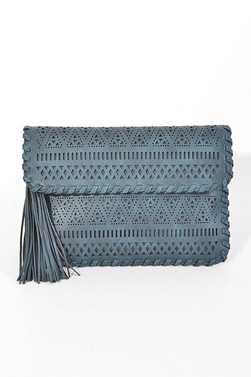 Image of Aztec Cut Out Pattern Clutch with Fringe Detail