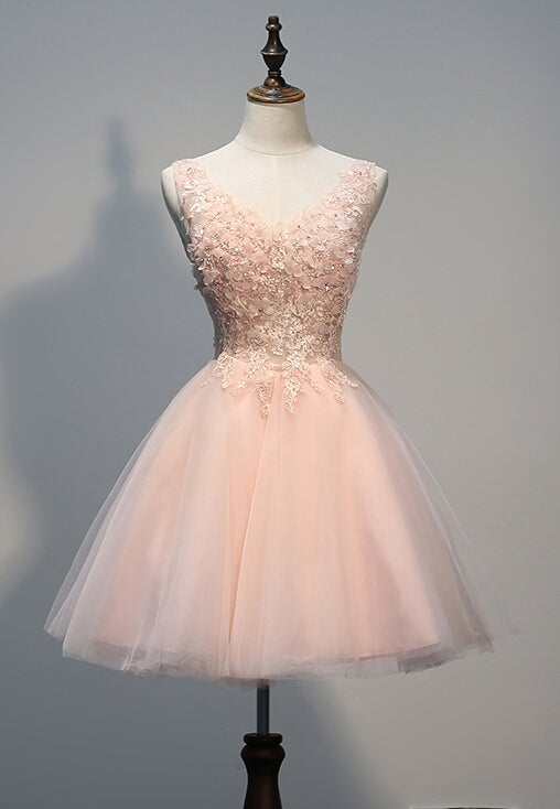 4a9eda6b5a8 Image of Lovely Light Pink Tulle Short Prom Dress with Lace Applique