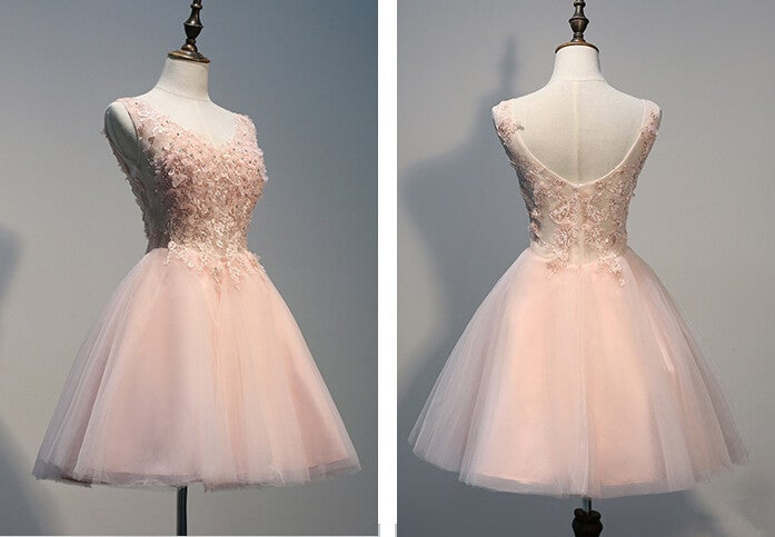 Lovely Light Pink Tulle Short Prom Dress With Lace Applique Pink