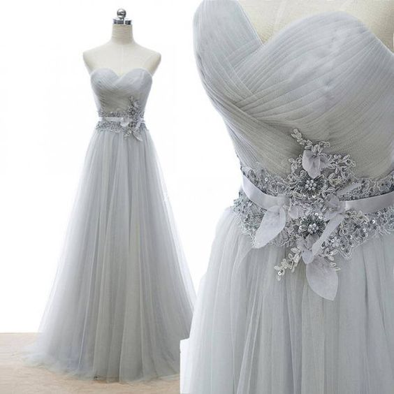 Elegant Tulle Long Sweetheart Prom Gown with Lace Applique, Prom Dresses, Party Gowns
