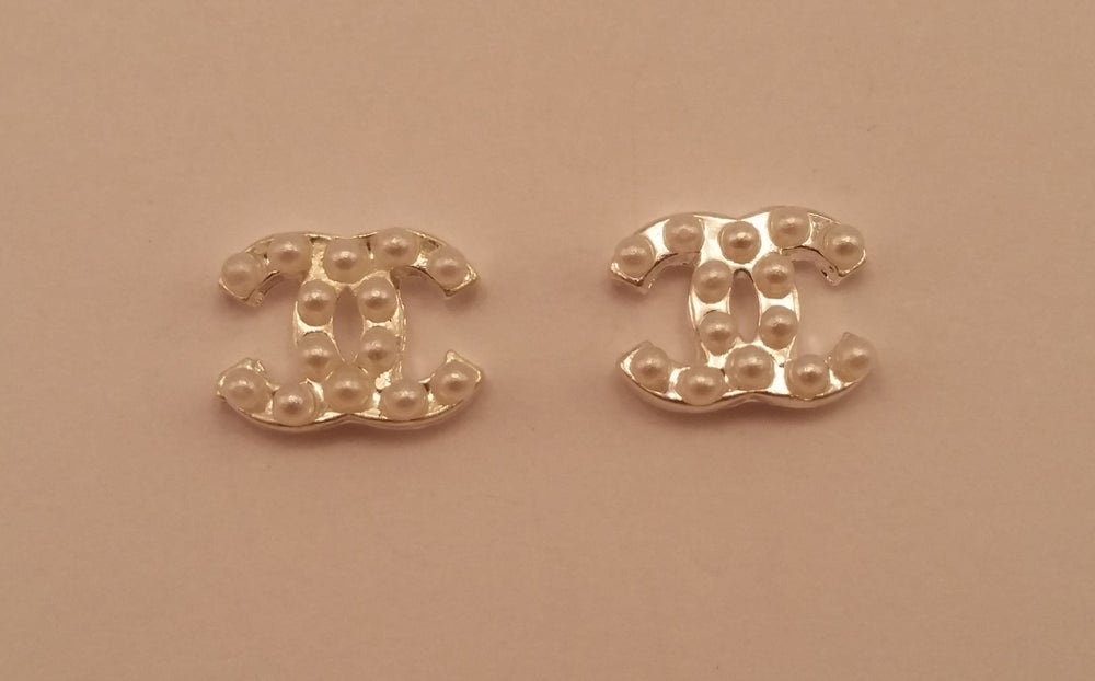 Image of Designer style CC Chanel nail charms (2pcs) 10x8mm Silver