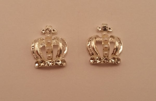 Image of Crown nail charms (2pcs) Pearly 12x10mm Rose gold 10x11mm