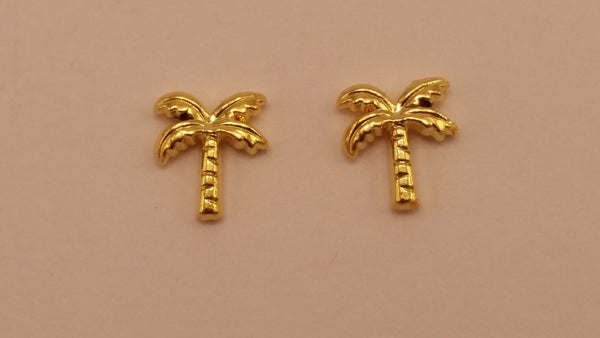 Image of Palm tree nail charms (2pcs) 9x8mm Gold or Silver