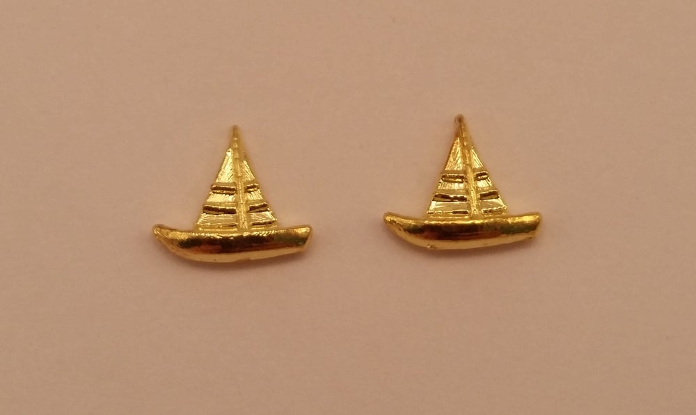 Image of Sailing boat nail charms (2pcs) 9x8mm Silver or Gold