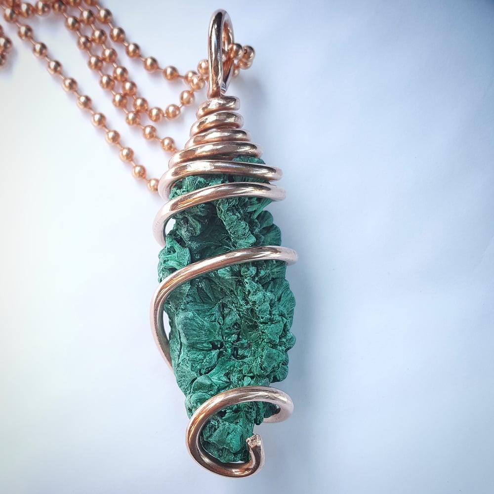 Image of Copper Wrapped Rough High Grade Congo Malachite