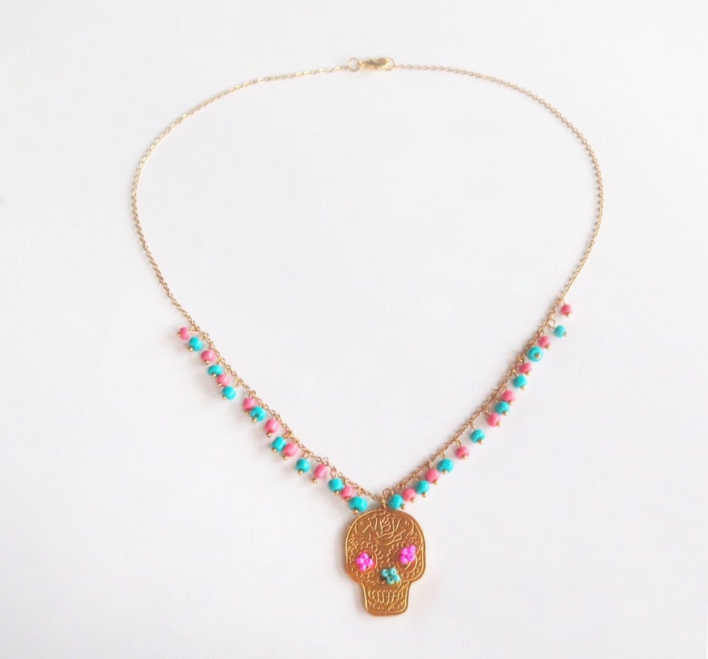 Image of Sugar Skull Turquoise and Salmon Necklace