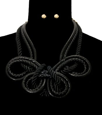 Image of Leather Looped Necklace Set