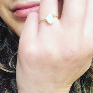 Image of Simple Rose Quartz Stone Ring - for love