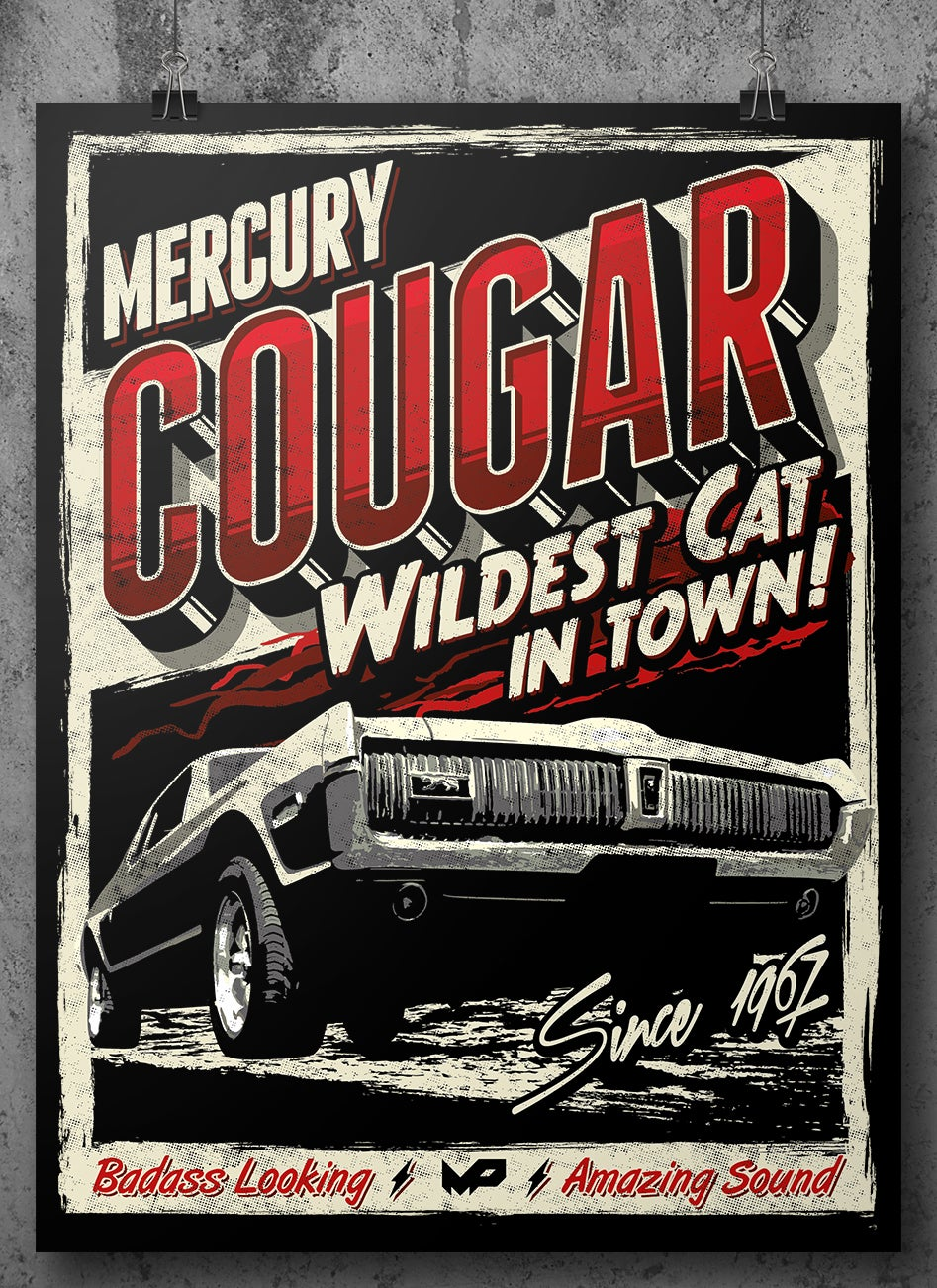 Image of Cougar Poster / Red