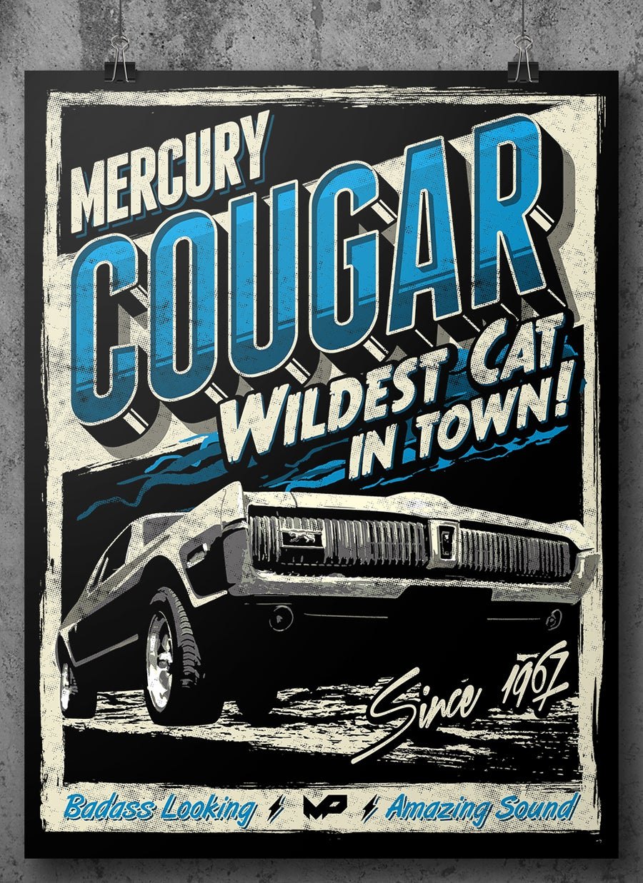 Image of Cougar Poster / Blue