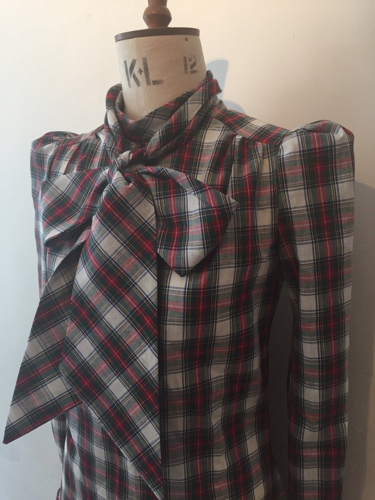 Image of Tartan tie neck shirt