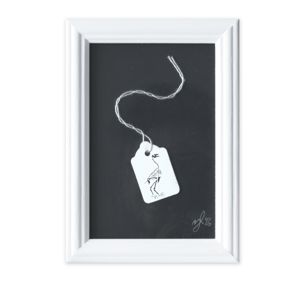 Image of Bird Skeleton Tag Papercut