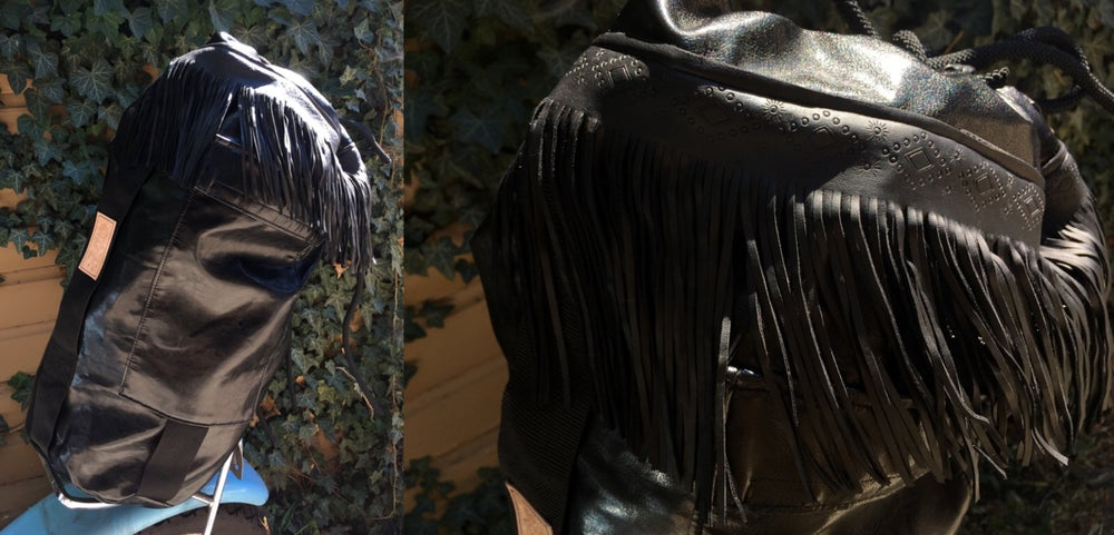 Image of SweatShop Industries x MoldieGoldies Fringe sissy bar bag