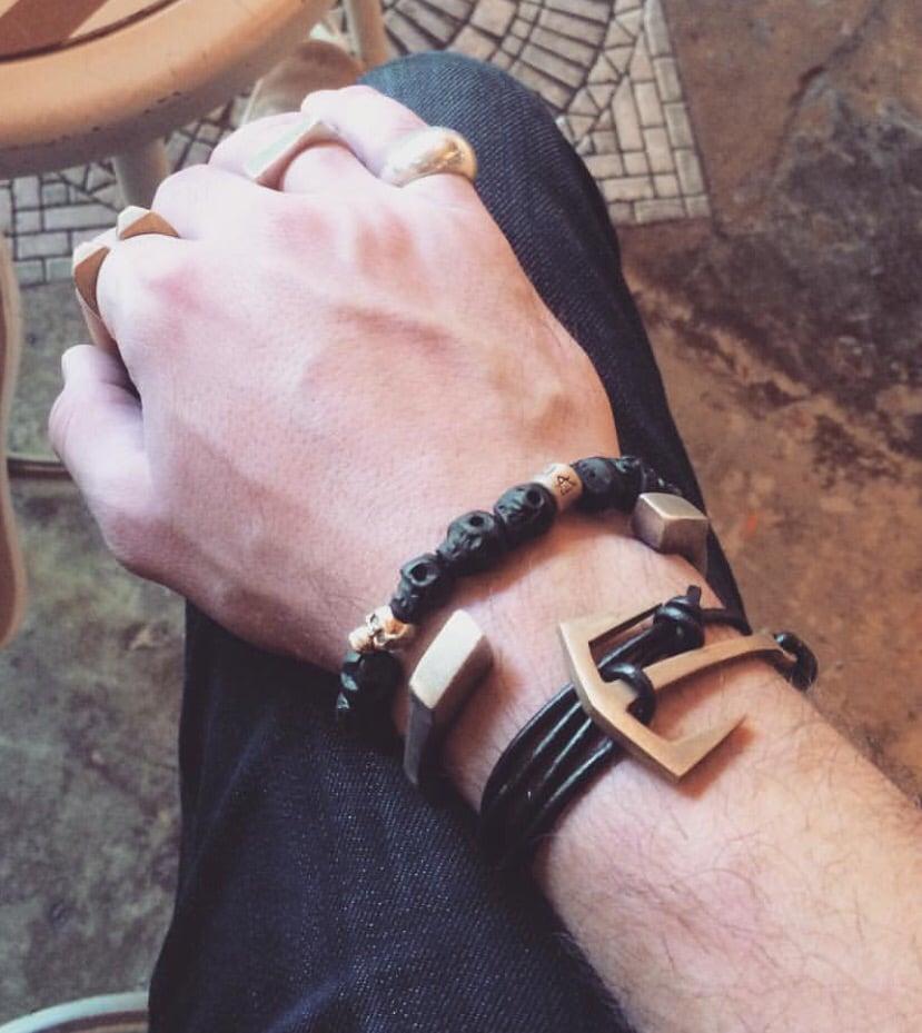 Image of Anchor Leather Bracelet