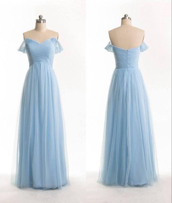 Simple Handmade Sweetheart Off Shoulder Prom Dresses, Blue Formal Dresses