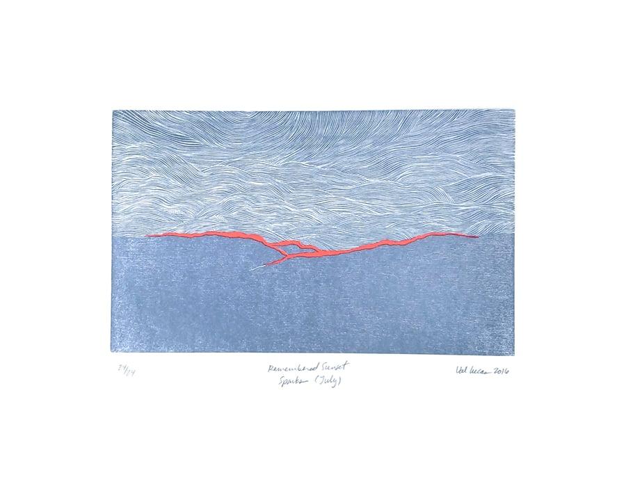 Image of Remembered Sunset Woodcut Print