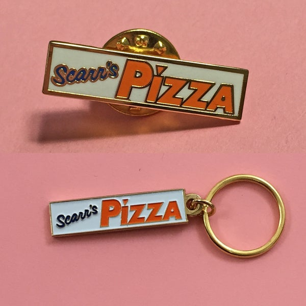 Image of SOLD OUT - Scarr's Pizza Keychain / Pin